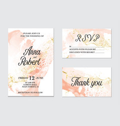 trendy greeting card set with watercolor liquid vector image