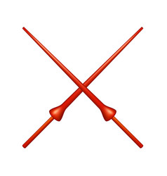 Two crossed lances in red design vector