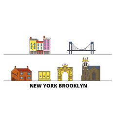 united states new york brooklyn flat landmarks vector image