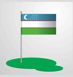 Uzbekistan flag pole vector
