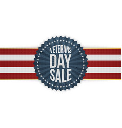 Veterans day sale blue emblem with striped ribbon vector