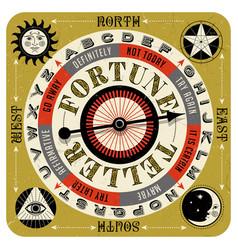 Vintage mystical fortune teller spin game vector