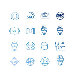 virtual reality line icons and device collection vector image