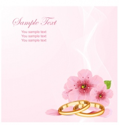 wedding rings and cherry blossom vector image vector image
