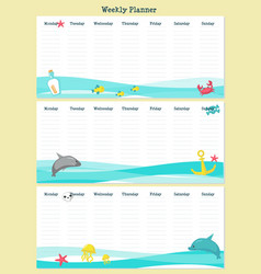 Weekly planner template with pirate animals vector