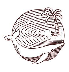 whale and beach line vector image
