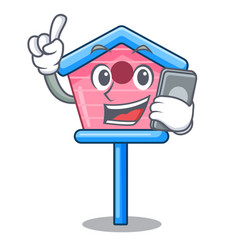 with phone cartoon little bird house in spring vector image