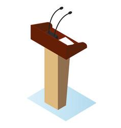 wooden podium tribune stand rostrum vector image