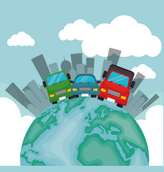world transport card collection city vector image