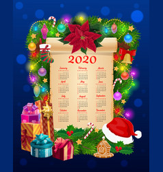 Year calendar paper scroll with christmas garland vector