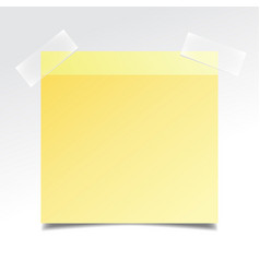 yellow realistic stick note paper on white vector image