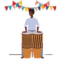 Young man with congas on white background vector