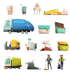 1607i126042Pm003c23garbage icon retro set vector image