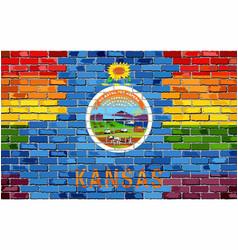Brick wall kansas and gay flags vector