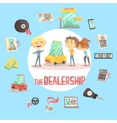 Car dealership firm professional dealer selling vector