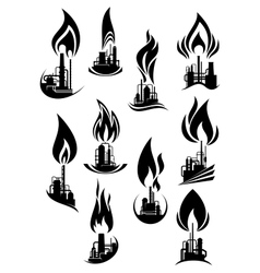 Oil and gas factories black icons vector image vector image