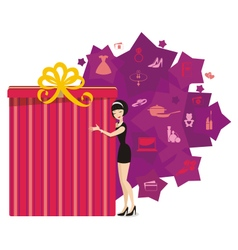 Big present for woman purple vector image vector image