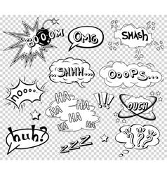 Comic speech bubbles set wording sound effect vector image