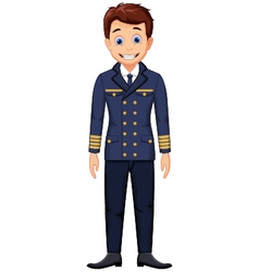cute cartoon pilot standing vector image