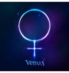 Shining blue neon astrological Venus symbol vector image