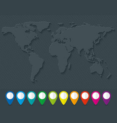 world map and set of colorful map pointers vector image