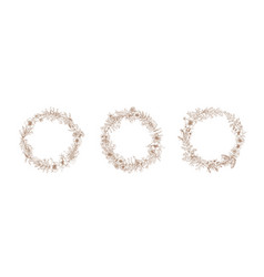 bundle of vintage wreaths or decorative round vector image vector image