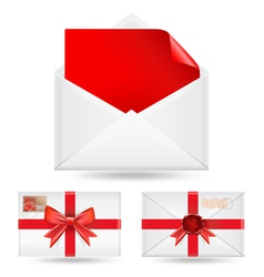 set of envelopes with ribbons vector image