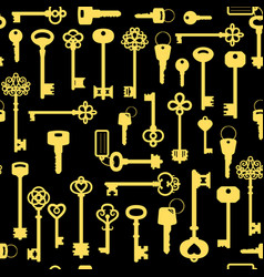 vintage golden key seamless pattern vector image