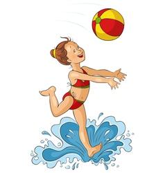 Cute little girl with beach ball vector image vector image
