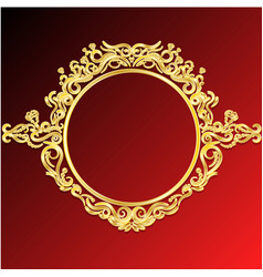 decorative frame retro gold frame on red vector image