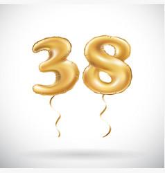 golden number 38 thirty eight metallic balloon vector image vector image