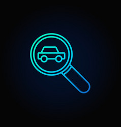 magnifying glass with a car icon vector image vector image