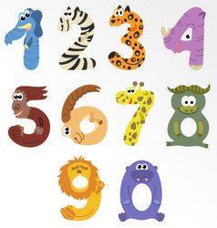 Numbers like african animals vector image