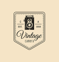 photography logo vintage old camera label vector image vector image
