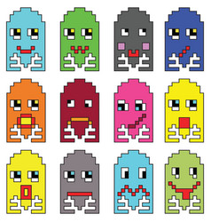 Pixelated emoticons 2 inspired by 90 s vintage vector image