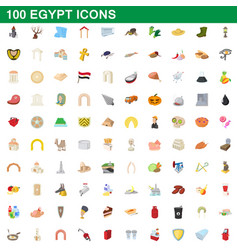 100 egypt icons set cartoon style vector image