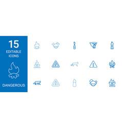 15 dangerous icons vector