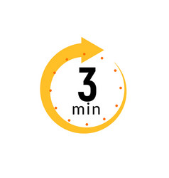 3 minutes clock quick number icon 3min time vector image