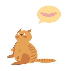 a fat cat dreams of sausages vector image