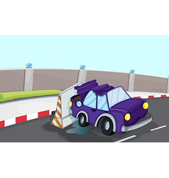 A violet car bumping the traffic cone at the road vector