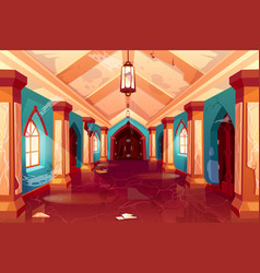 Abandoned castle empty palace interior hallway vector