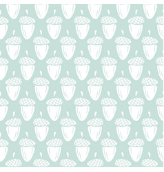 acorn plant seamless pattern in light blue vector image