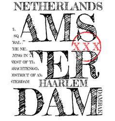 amsterdam athletic sport typography t-shirt vector image