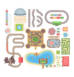 Amusement park - set of modern isolated vector