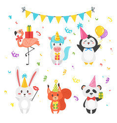 animals in festive cone hats vector image