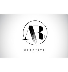 Ar brush stroke letter logo design black paint vector