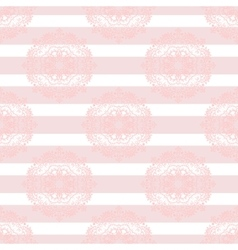 Baby pink mandala subtle striped seamless pattern vector