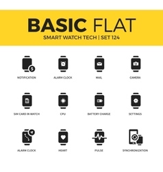 Basic set of Smart watch tech icons vector