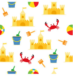 beach summer seamless pattern with sand castle vector image