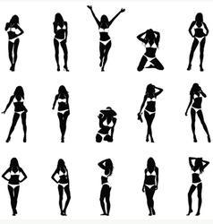 Bikini Girls Black Silhouettes vector image